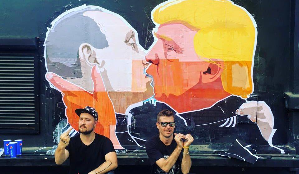 Le baiser de Trump et Poutine dans les rues de Vilnius